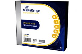 DVD+RW MediaRange 4.7GB|4x speed, Slimcase Pack a 5 stuks