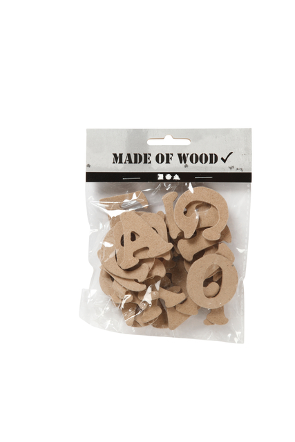 Letters A-Z Creotime hout 4cm assorti