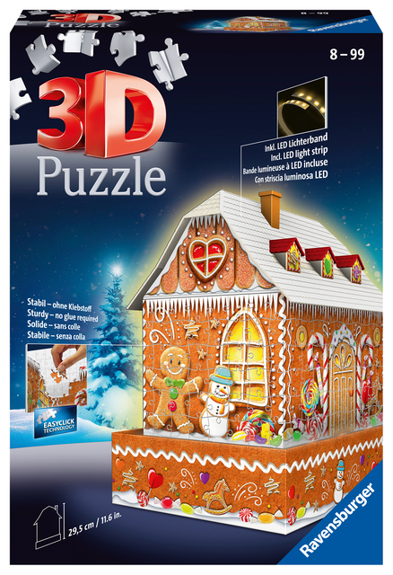 3D puzzel Ravensburger Kerst Gingerbread House Night Edition