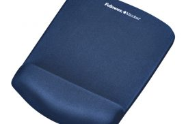 Muismat met polssteun Fellowes Plush Touch blauw
