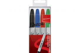 Viltstift Sharpie rond 0.9mm assorti etui à 4 stuks