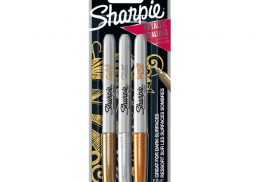 Viltstift Sharpie rond 0.9mm metallic assorti blister à 3 st