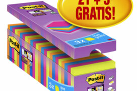Memoblok 3M Post-it 654 Super Sticky 76x76mm 21+3 gratis ass